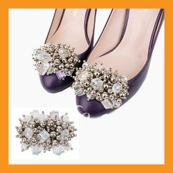 beads shoes corsages wedding accessory pumps clip heel flat women fashion decor