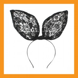 black lace bunny ear headband rabbit party halloween costumes hair accessory