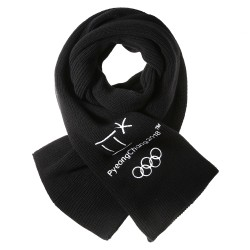 2018 Winter Olympic Merchandise Muffler Scarf 5 Rings Symbol Apparel - Black