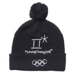 2018 Winter Olympic Merchandise Beanie Apparel Winter Hat 5 Rings Accessory - Black