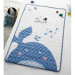 Whale Baby Quilt Blanket Cotton Duvet Pad Waterproof Bed Sheet Cover 2 Size