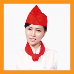 red + red line chef hat restaurant bar hotel uniform size adjustable clothing cook kitchen
