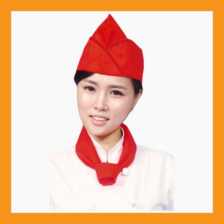 red + red line chef hat restaurant bar hotel uniform size adjustable clothing cook kitchen