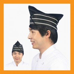 black + white line chef hat restaurant bar hotel uniform size adjustable clothing cook kitchen