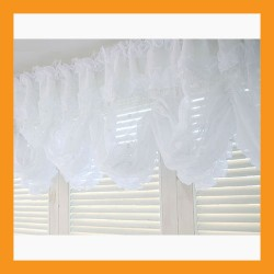 large balloon shades valance curtain white beads window treatment kitchen drape lace 2 size