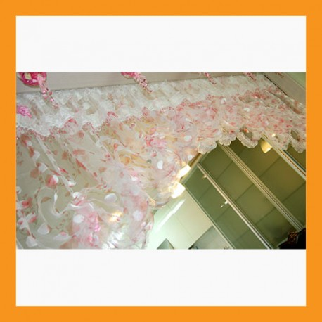 pink beads balloon shade valance top curtain window treatment livingroom door panel 2 size