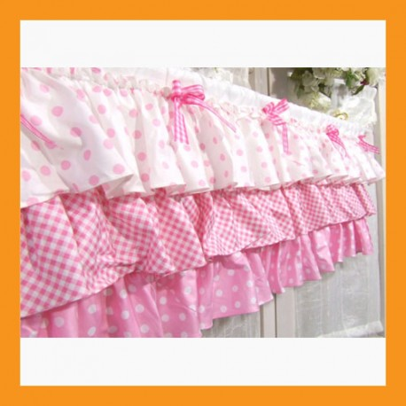 cotton valances curtain pink ruffle window treatment home kitchen bedroom deco 2 size