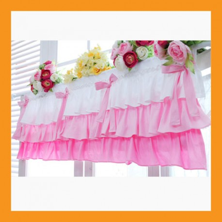pink ruffled cotton valance curtains ribbon window treatment kitchen bedroom 2 size