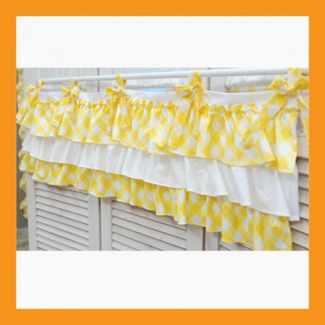 yellow check valance cotton Tap Top window curtain treatment kitchen ribbons 2 size