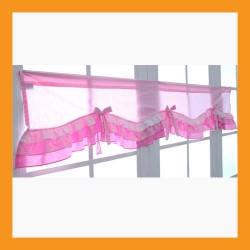 pink wave valance curtain ruffle cotton window treatment kitchen bedroom doorway deco