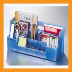 blue desk organizer office caddy storage stationery box accessory caddy stand tray