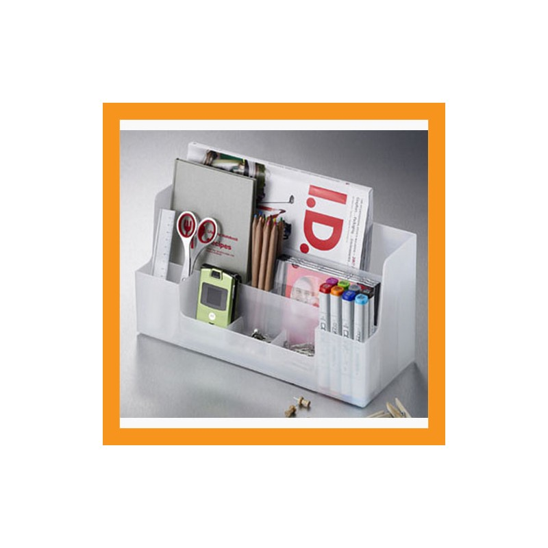 White Desk Organizer Office Caddy Storage Stationery Box Accessory Stand Tray