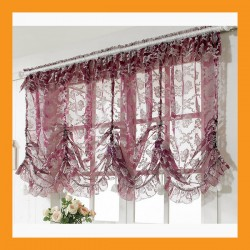 purple balloon shade valance curtain window kitchen ruffle lace flowers door deco 2 size