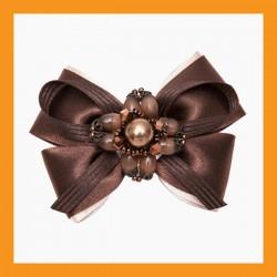 brown ribbon shoe corsage wedding bridal beads accessory satin clip heel women
