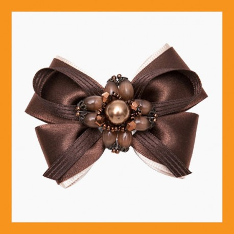 brown ribbon shoe corsage wedding bridal beads accessory satin clip heel women
