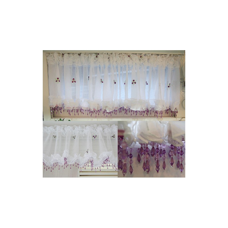 Sheer valance curtain w beads. Perfect decoration for window ...