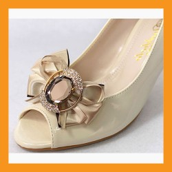 princess crown jewelry shoe corsage wedding bridal cubic bead accessory satin clip heel flat women