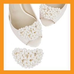 ivory beads shoes corsages wedding accessory white clip heel flat women bridal