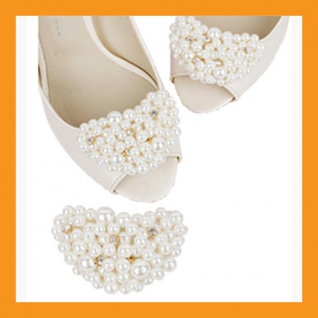 ivory beads shoes corsages wedding accessory white clip heel flat women bridal sandals pmups