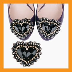 black heart beads cubic shoes corsages wedding accessory pumps clip heel flat women fashion