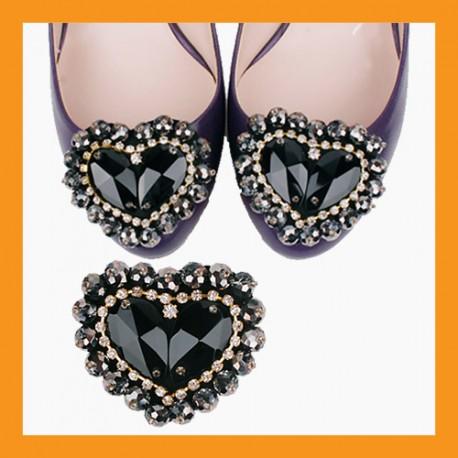 black heart beads cubic shoes corsages wedding accessory pumps clip heel flat women fashion