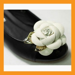 white camellia shoes corsages pearl faux leather flower flat heel women accessory