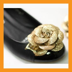 gold camellia shoes corsages pearl faux leather flower flat heel women accessory